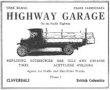 Highway Garage advertisement, 1921; Wrigley's BC Directory, 1921