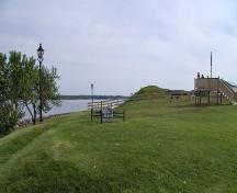 Showing a survey stone in the foreground with Prince Edward Battery on the right; City of Charlottetown, Natalie Munn, 2006