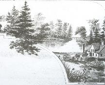 Engraving of mill buildings and view of creek; Meacham's Illustrated Historical Atlas of PEI, 1880