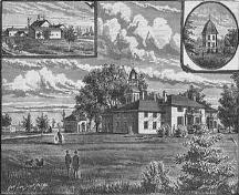 Historic illustration of the buildings of The Briars (Peacock House at top right corner) – c. 1888; briars.ca, 2005