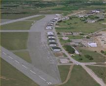 Aerial photo of Royal Flying Corps Hangars, 1988.; Agence Parcs Canada /Parks Canada Agency, 1988.