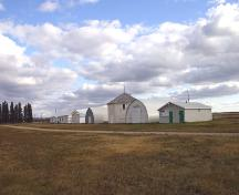 Contextual view, from the northwest, of the Carberry Agricultural Display Building (centre), Carberry, 2006; Historic Resources Branch, Manitoba Culture, Heritage and Tourism 2005
