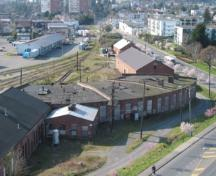 Aerial view of the E&N Roundhouse, 2004.; City of Victoria, Steve Barber, 2004.