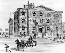 Artist's rendering of the front (north) view of the Niagara District Courthouse – ca. 1876; Niagara Falls (Ontario) Public Library