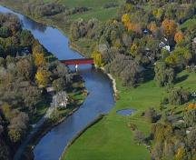 An aerial view of the West Montrose Covered Bridge and surrounding rural landscape.; Township of Woolwich, 2007