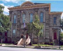 A stately stone landmark built in 1855-56, the former court house dominates the streetscape.; City of Windsor, Nancy Morand, 2002