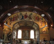 View of interior of Assumption of the Blessed Virgin Mary Church featuring paintings by Berthold Von Imhoff, 2007.; Government of Saskatchewan, Thome, 2007.