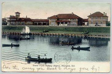 Postcard image of view from Lake Simcoe - 1906
