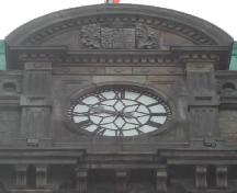 This photograph shows the clock and the roof-line, 2005.; City of Saint John