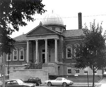 West facing facade of Carnegie Library, date unknown.; Photo from Audrey Scott Photo Collection, date unknown.
