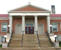 Featured is the monumental main entrance with Ionic columns, 2007.; Department of Planning, City of Brantford, circa 2004.