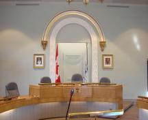 View of the archway behind the Judge's Chair (now the Mayor's Chair) – 2006; OHT, 2006