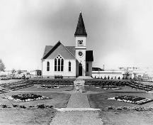 Exterior view of the Minoru Chapel with Pierrefonds Gardens in foreground; Richmond Archives photo no. 1978 27 10
