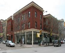 Primary elevations, from the southwest, of the Albert Block ,Winnipeg, 2007; Historic Resources Branch, Manitoba Culture, Heritage, Tourism and Sport, 2007