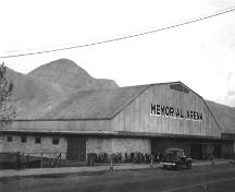 Historic view of the Memorial Arena, 1949; City of Kamloops Museum and Archives