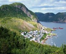 View of Hunt's Point at the base of Gun Hill, Harbour Breton, NL. Photo taken 2009.; Doug Wells 2009