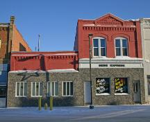 Primary elevation, from the west, of the Carberry News Express Building, Carberry, 2007; Historic Resources Branch, Manitoba Culture, Heritage, Tourism and Sport, 2007