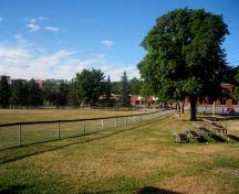 Image of Queen's Square showing bleachers adjacent to the baseball field; City of Fredericton