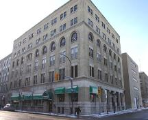 Oblique view, from the northeast, of the Adelman Building, Winnipeg, 2005; Historic Resources Branch, Manitoba Culture, Heritage, Tourism and Sport, 2005