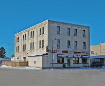 Primary elevations, from the southeast, of the Nelson Hotel, Carberry, 2007; Historic Resources Branch, Manitoba Culture, Heritage, Tourism and Sport, 2007