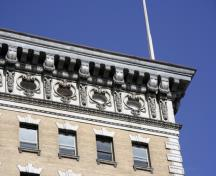 Cornice detail of the Union Bank Building (Royal Bank Building), Winnipeg, 2006; Historic Resources Branch, Manitoba Culture, Heritage and Tourism, 2006