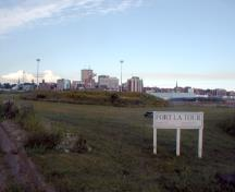 Fort LaTour - The City of Saint John provides the backdrop for the site of Fort LaTour today; PNB 2004