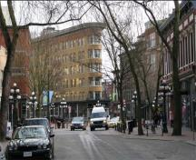 General view of Maple Leaf Square, within the Gastown Historic District National Historic Site of Canada, 2008.; Andrew Waldron, Parks Canada Agency / Agence Parcs Canada, 2008.