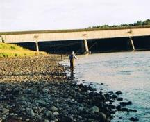 Image taken in 2005 showing the Hartland Salmon Pool as it appears after Mactaquac Dam was built in 1967; Doris E. Kennedy