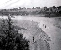 An undated image showing the internationally-known salmon pool located downtown Hartland. Hundreds of salmon were caught each season until 1967 when the Mactaquac Dam was built.; Doris E. Kennedy