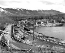 Old Skeena Bridge in 1953 during construction of Canadian National Railway bridge.; Kitimat Museum and Archives, KMA 2001.18.14