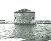 General view of the Shoal Martello Tower, 1977.; Parks Canada Agency / Agence Parcs Canada, 1977.