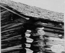 Detail of main building showing saddle- or dovetail-notched corners.; (A&ES. HRS, September 1994.)