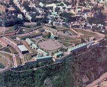 Aerial view of the Québec Citadel, showing its commanding location on Cap Diamant.; Parks Canada Agency / Agence Parcs Canada, n.d.