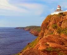 Panoramic view of Cape Spear Lighthouse National Historic Site of Canada showing  viewplanes from the lighthouse to sea-lanes approaching the mouth of St. John`s harbour, 1988.; Parks Canada Agency / Agence Parcs Canada, A. Cornellier, 1988.