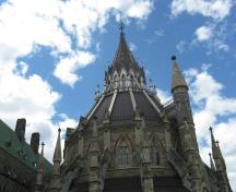 Detail view of the Library at Parliament Hill showing the highly romantic, Gothic Revival style, 2010.; Parks Canada Agency / Agence Parcs Canada, C. Beaulieu, 2010