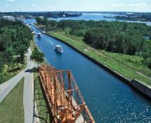 General view of Sault Ste. Marie Canal showing the integrity of the canal path,; Parks Canada Agency / Agence Parcs Canada.