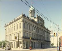 Corner view of St. Lawrence Hall, showing the façades facing the roads, 1996.; Parks Canada Agency / Agence Parcs Canada, 1996.