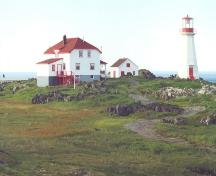 View of Quirpon Island Lightkeeper's Residence, with Cape Bauld Lighthouse to the right.; Heritage Foundation of Newfoundland and Labrador, 2004