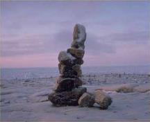View of single Inuksuit,, 'Likeness of Man'; Parks Canada Agency / Agence Parcs Canada, 1989