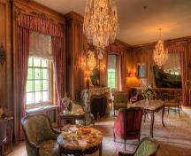 Drawing Room filled with original furnishings & art, including a Steinway & Sons Art Case piano; Harold Clark Photography