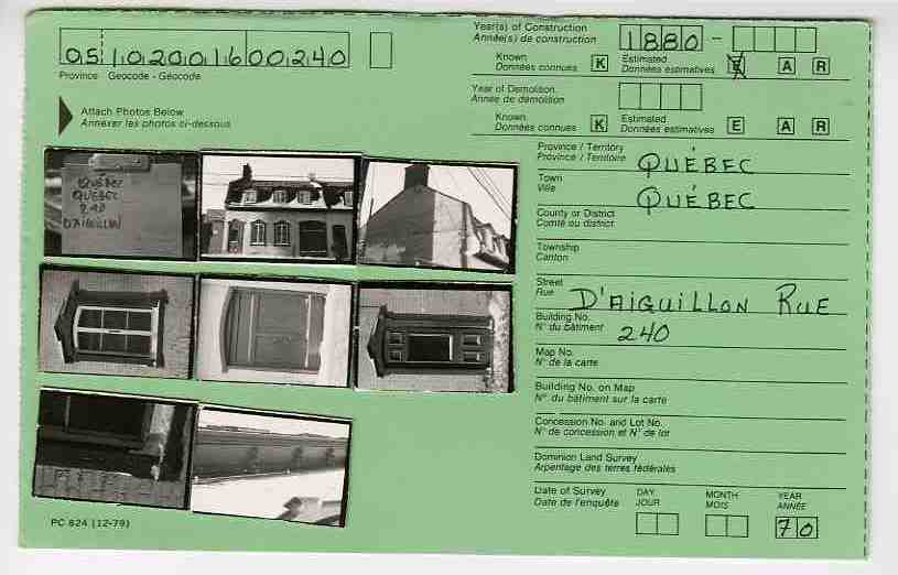 Example of a CIHB index card, 1970/ Example d'une fiche du , 1970